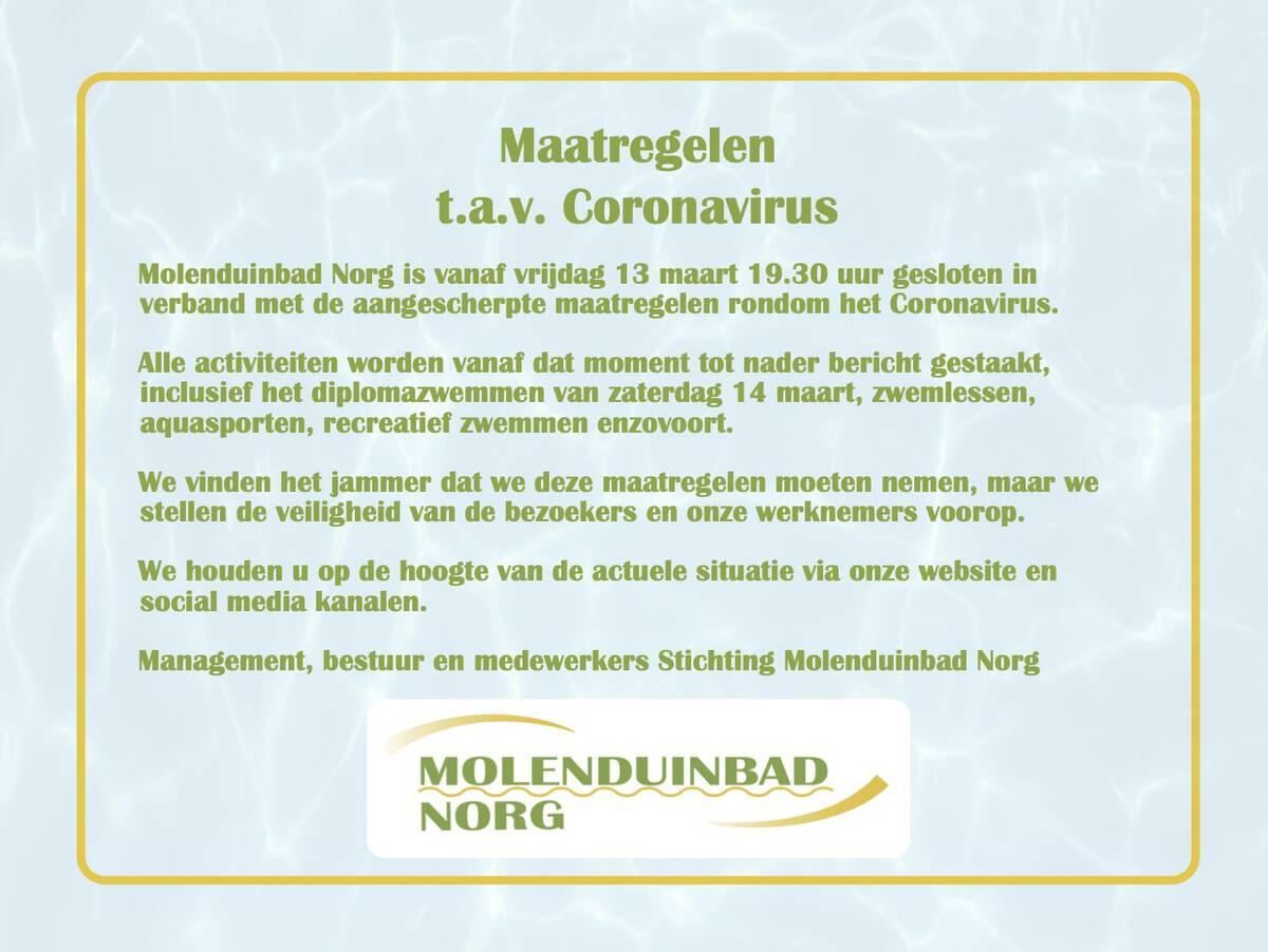 Gesloten vanwege coronavirus